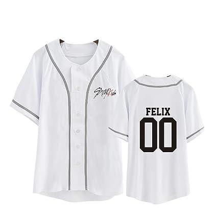9ecd2b4d2 Aopostall Kpop Stray Kids T-Shirts Same Shirt Felix Unisex Tee Shirt  Baseball Jersey