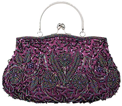 Bag Made Beads Shoulder 30 Polyester for of 26cm Handbag EDLUX Tote Purple Claret Satin Ladies Bag 4 Women with Fwng0Tnq