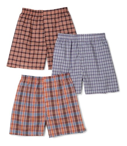 Fruit of the Loom Men's  Assorted Tartan Plaids Woven Boxers (Colors/Patterns Will Vary),Assorted Tartan Plaids,Medium(Pack of 3)