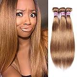 Top Hair Peruvian Straight Hair 3 Bundles(20 22 24, Dark Blonde #27) Virgin Human Hair Wefts Hair Extensions Deal with Mixed Lengths 100% Human Hair Extensions (20 22 24, Dark Blonde #27)