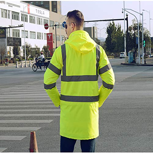 GSHWJS- trash can Reflective Cotton Coat High Speed Traffic Warning Duty Safety Jacket, Green Reflective Vests (Size : XXL) by GSHWJS- trash can (Image #2)