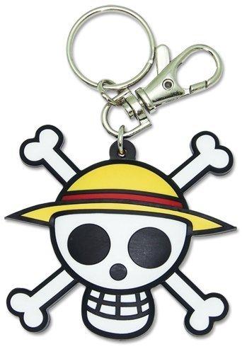 One Piece: Luffy Logo Pvc Keychain ~ Luffy's Jolly Roger Straw Hat Pirates Logo
