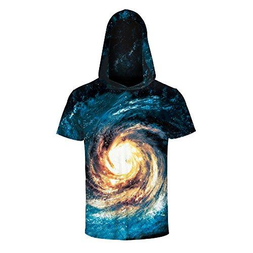 Mens Womens 3D Printed Athletic T-Shirt Hooded Short Sleeve Sweatshirts Tees Tops (L/s Hooded Tee)
