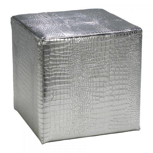 Silver 14.5In. Silver Faux Reptile Ottoman 02753