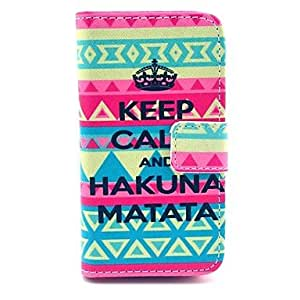 LZX Tribal Carpet Hakuna Matata Pattern PU Leather Full Body Case with Card Slot for iPhone 4/4S