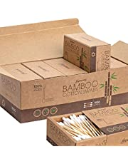 1000 Count Cotton Swabs - Cotton Buds, Organic Cotton Swab, Multipurpose Highly Absorbent Hygienic, Recyclable & Biodegradable Bamboo Cotton Sticks for Beauty Care, Painting, Jewelry, Pet Care(5 Pack)