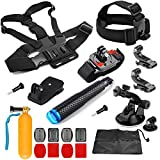 SHOOT 8 in 1 Accessories Kit for Gopro Hero 6/5/4/3+/3/2/1/HERO(2018)/Fusion AKASO EK7000 APEMAN Campark FITFORT 4K WIFI Action Camera Head Chest Strap + Monopod + Wrist Strap + Suction Cup + Hat Clip + Floaty Bar +Flat/Curved Mount kit + Pouch