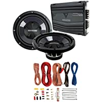 2) New Kenwood KFC-W110S 10 1400W Car Subwoofers + KAC-5207 400W Amp + Amp Kit