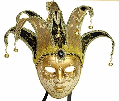 Amazon.com: Venetian Gold Jester Full Face Masquerade Carnival Mask ...
