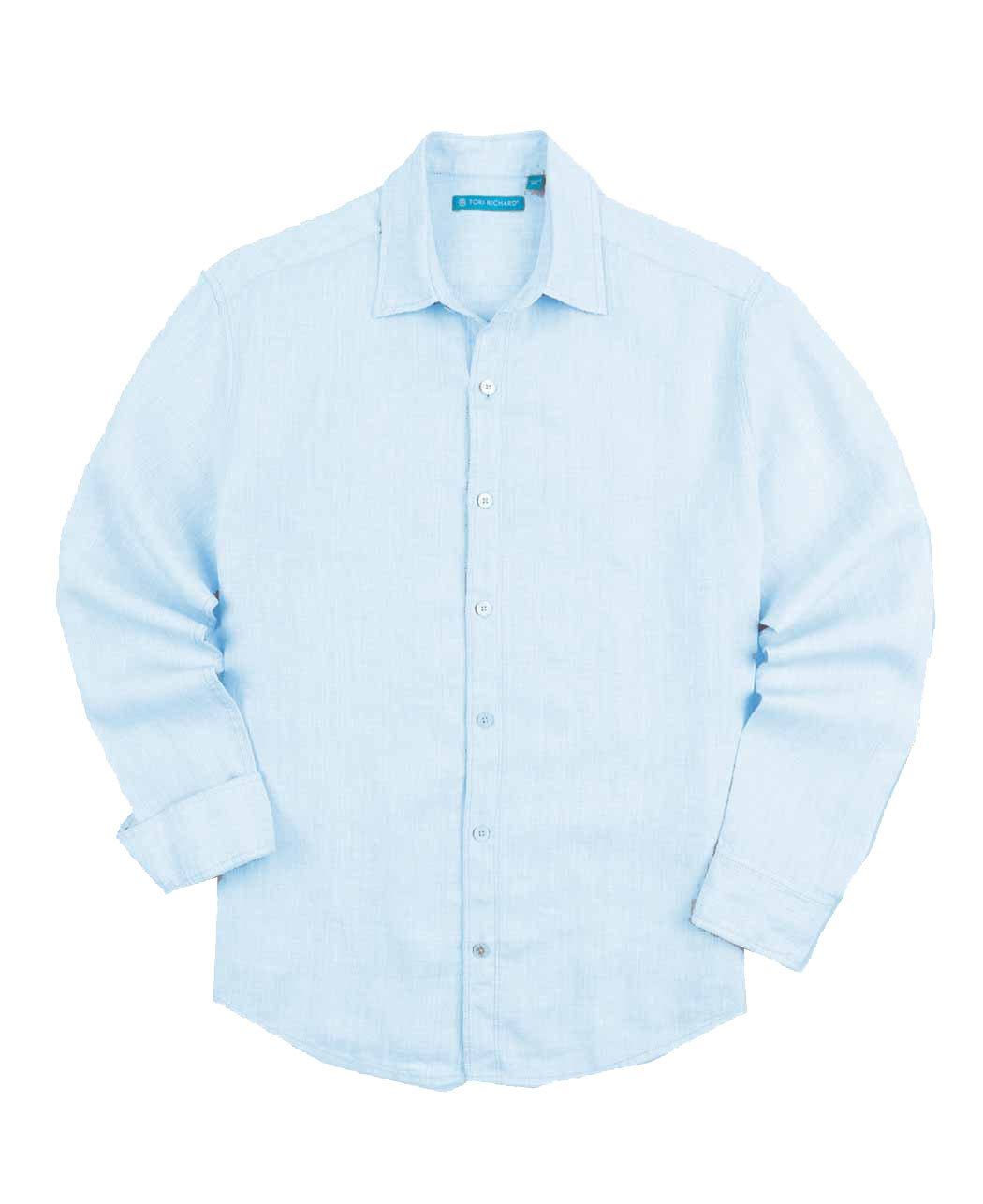 Tori Richard Men's Biscayne Long-Sleeve Relaxed-Fit Shirt (Blue, Small)