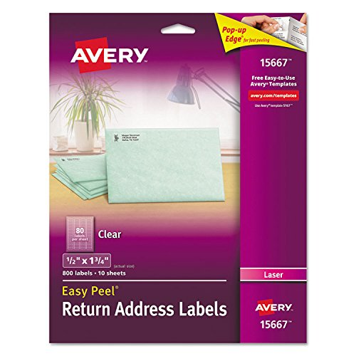 Avery 15667 Matte Clear Easy Peel Return Address Labels, Laser, 1/2 x 1 3/4, 800/Pack