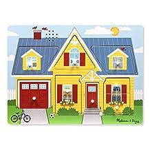 Melissa & Doug Around The House Sound Wooden Peg Puzzle (8 Piece)