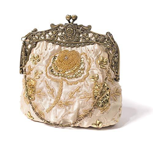 ILISHOP Women's Antique Beaded Party Clutch Vintage Rose Purse Evening Handbag (Gold)