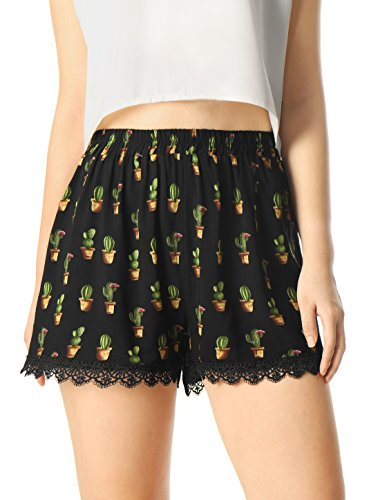 allegra-k-women-cactus-print-lace-trim-elastic-waist-shorts-black-m