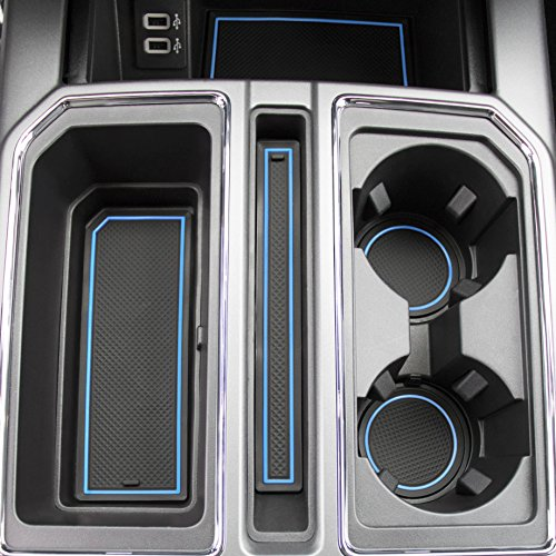 2017 2018 Ford F-150 Custom Fit Cup Holder and Door Liner Accessories F150 28-pc Set (Super Crew) (Blue Trim)