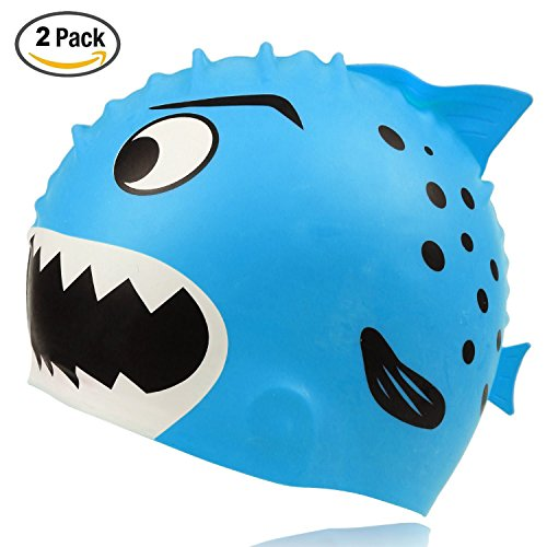 Kyerivs Swim Cap for Kids Toddler,Fun Design Silicone Sharks Swimming Caps for Boy and Girl by, 2 pack Aged 3-12,Blue and Yellow – DiZiSports Store