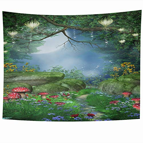 - Ahawoso Tapestry 90 x 60 Inches Green Fantasy Enchanted Forest Mushrooms Fairy Lanterns Nature Blue Flower Path Grass Night Lamp Wall Hanging Home Decor Tapestries for Living Room Bedroom Dorm