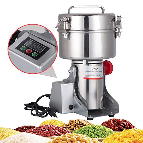 ial Electric Grain Grinder New LED Didital Display Stainless Steel Electric Mill Ultra-fine Powder Grinding Machine 32000 r/min CE Approved for Kitchen Herb Spice Pepper Coffee Powder Grinder (2000g Grinding Machine) ()