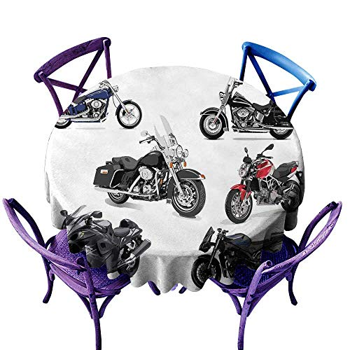 (ScottDecor Motorcycle Summer Table Cloths Unique Original Motorcycles Set Freestyle Action Life with Winged Wheels Hobby Print Multi Tablecloth Sizes Round D 50