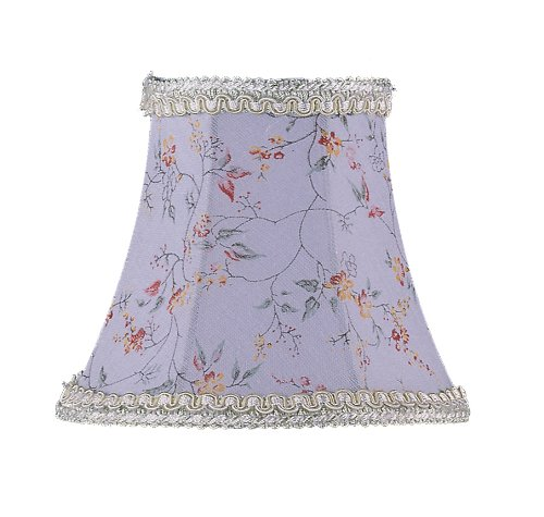 Livex Lighting S274 Bell Clip Chandelier Shade with Fancy Trim Sky Blue Floral Print 5 x 4.5 5 x 4.5