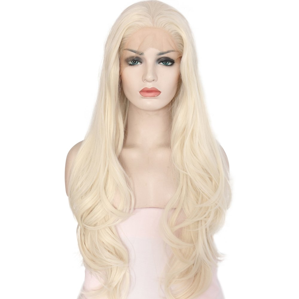 eNilecor Purple Lace Front Wig Women Long Synthetic Realistic Wavy Glueless Hair Replacement Wigs 24