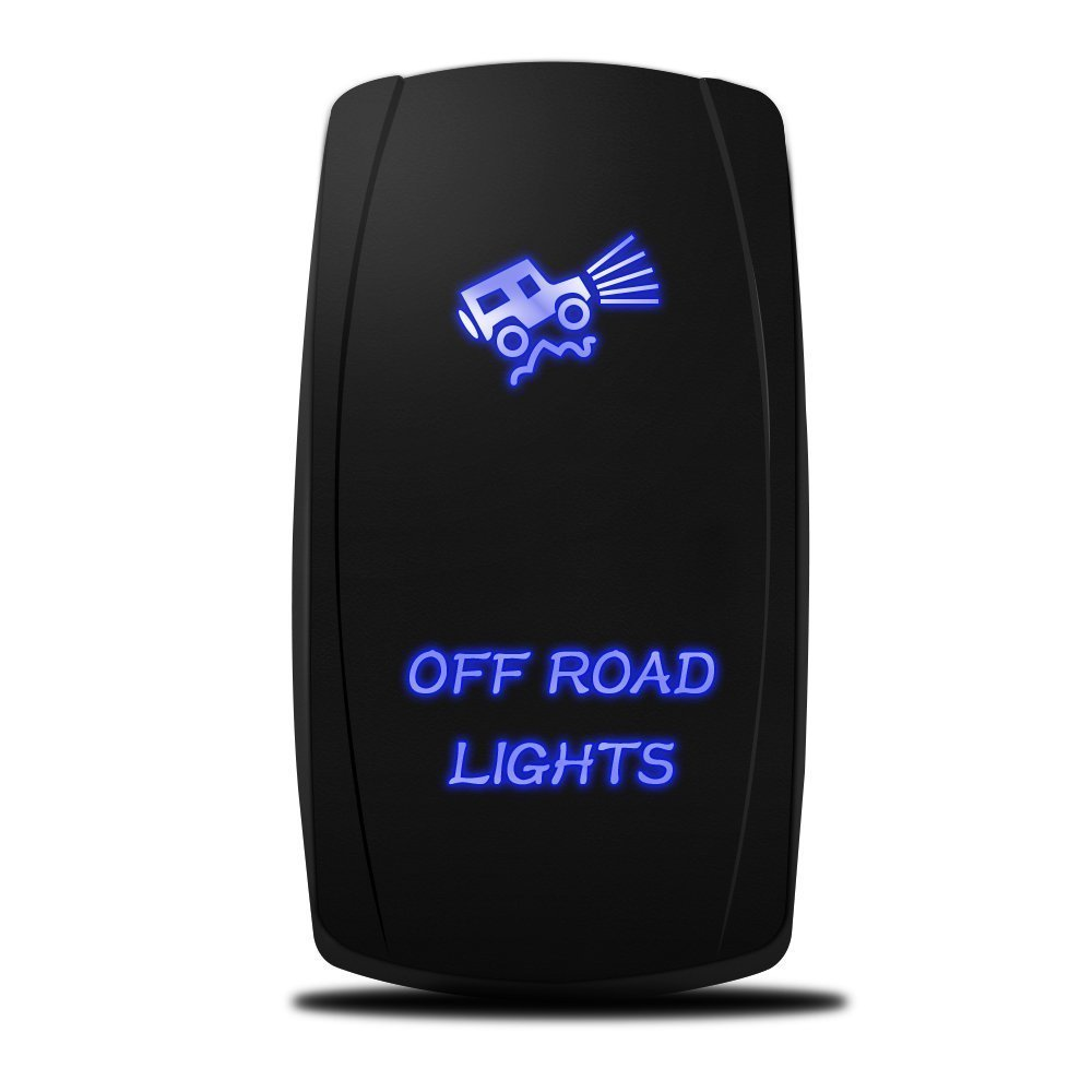MicTuning MIC-LSO1, 5 Pin, Off-Road Lights Rocker Switch, On-Off LED Light, 20A 12V, Blue