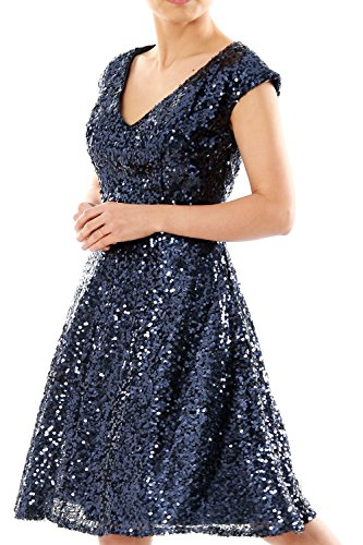Women V Violett Bridesmaid Gown Sequin Sleeve Cap MACloth Party Dress Formal Short Neck wSOTWq