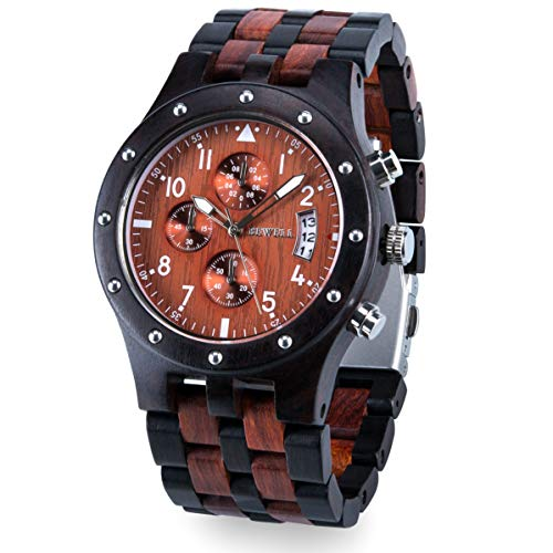 - Bewell W109D Men's Wooden Watch Quartz Movement Date Display Luminous Sports Wristwatch