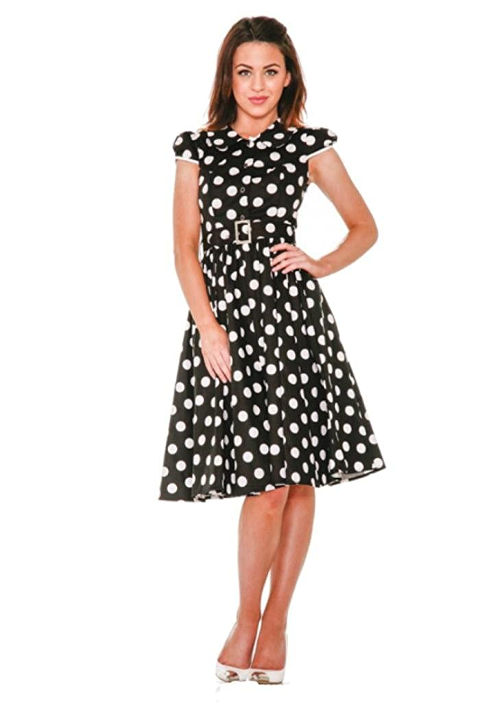 9b95824f71620 H & R London Gidget Black and White Big Polka Dot Collared 50's Dress at  Amazon Women's Clothing store: