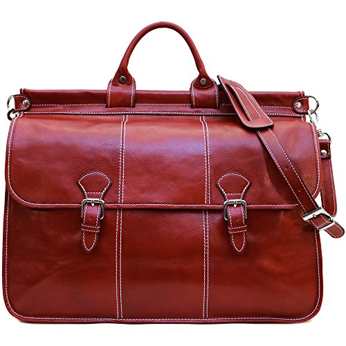 Vaggo Duffle Travel Bag in Red Full Grain Leather by Floto