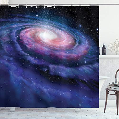 Outer Space Decor Shower Curtain by Ambesonne, Spiral Cosmic Energy with Dark Nebula Cloud Burst Solar Universe Image, Fabric Bathroom Decor Set with Hooks, 70 Inches, Blue Purple (Spiral Shower Curtain)