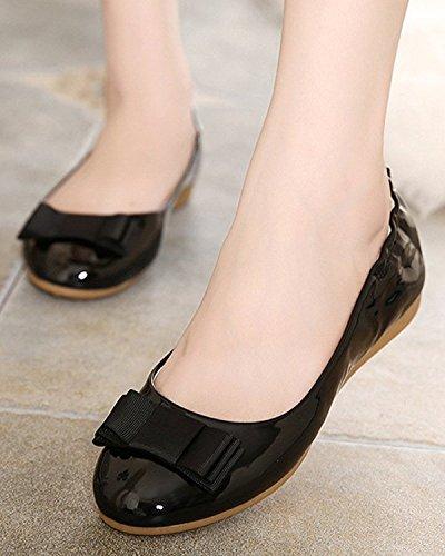 Mujer Bowknot Suave Bailarina Plegable Minetom Otoño Zapatos Zapatos Plano Forro Negro Zapatos Casual Primavera gvvRwdq