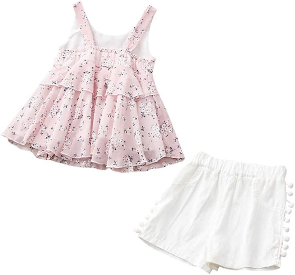 Gyratedream Girls Summer Clothes Pink Chiffon Vest Top White Shorts Hat 3Pcs Clothes Set for 1-6 Years Kids