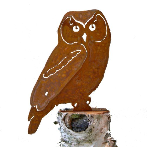 Profile Silhouette (Elegant Garden Design Owl, Steel Silhouette with Rusty Patina)