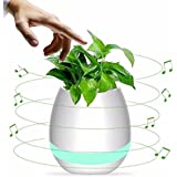 Osloon Music Flowerpot, Smart Music Playing Bluetooth Speaker Vase Multi-Color LED Light Rechargeable Wireless Flower Pot for Home and Office (without Plant)
