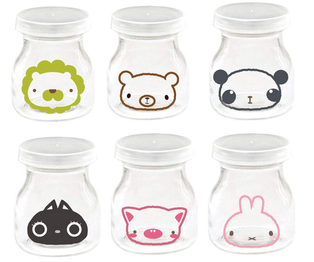 6pcs Cartoon Animal Yoghurt Jars Jelly Jar with Lid,Replacement Glass Jars for Yogurt Maker
