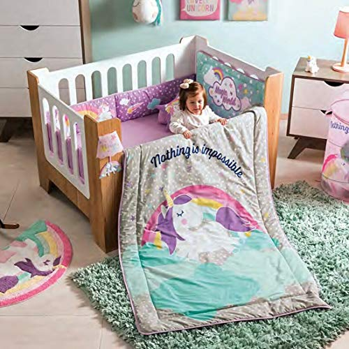 DreamPartyWorld Magic Unicorn Crib Set Baby Gift Shower Bedding Rainbow Nursery Pink Blue Polka 100% Cotton