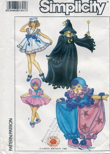 Simplicity Pattern 8834 Misses and Girls Clown, Baby Doll, Witch and Sailor Costumes (Clown Costume Patterns)