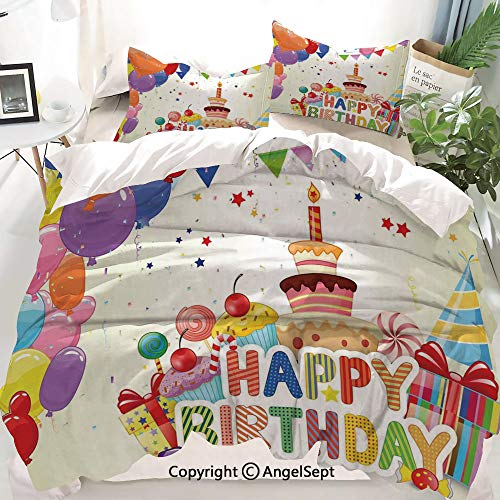 Homenon Birthday Decorations Decor Duvet Cover Set Full Size,Heart Shaped Funny Balloons Cupcakes Candies Presents and Party Hats,Decorative 3 Piece Bedding Set with 1 Pillow Shams