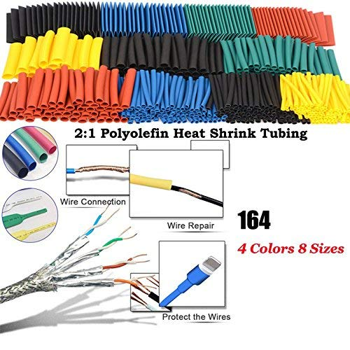 Crazywind Heat Shrink Tube Wire Cable Polyolefin Shrinking Assorted Insulated Sleeving Tubing Set 164pcs Set