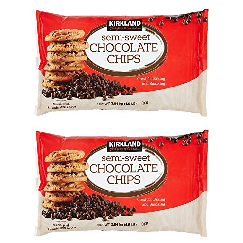 Kirkland Signature Semi-Sweet Chocolate Chips, 72 Ounce (Pack of 2, 144 oz(Each 72 oz))