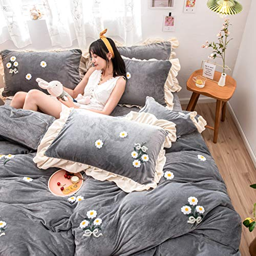 XIAOMEI Ruffle Edge 4 Pcs Bedding Set,Flannel Thick Ultra Soft Warm Duvet Cover Sets Queen 3D Embroidered Quilt Cover Winter for Girl Gray-n 180cm(71inch) (Grayn)