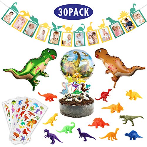 Personalized Balloons With Photo (Dinosaur Photo Banner, 30PCS 1st Baby Shower Birthday Supplies Dinosaur Banner Balloon Cake Topper 3D Animal Sticker Decorations for Kids Boys Girl First Baby Birthday)