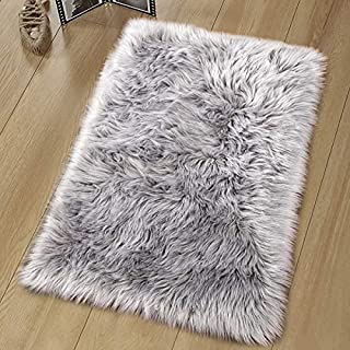 Noahas Luxury Fluffy Rugs Bedroom Furry Carpet Bedside Sheepskin Area Rugs Children Play Princess Room Decor Rug, 2ft x 3ft, Grey