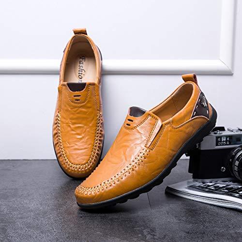 AIMENGA Lederschuhe Herbst Herrenschuhe Mode Herren Erbsen Casual Schuhe Faul Wild Herrenschuhe