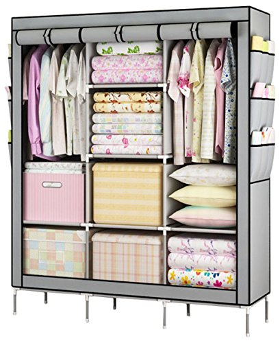 YOUUD Fashionable Clothes Closet Portable Wardrobe Storage Organizer with Shelves Multilayer Sturady Durable Construction Stroage Cabinet Gray