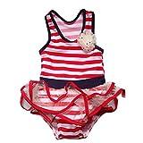 shipping to canada - SKY-ST Cartoon Duck-Baby Girls Chiffon Bow Top Tutu 2Piece Tankini Swimsuit Swimwear