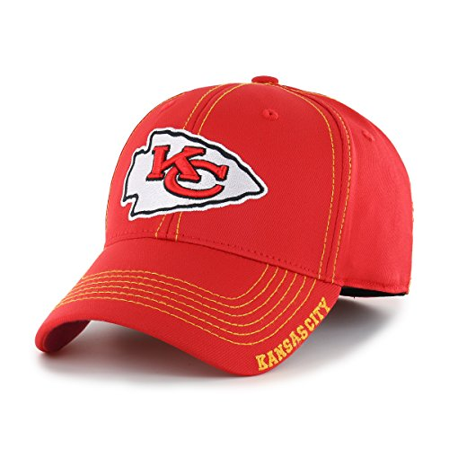 NFL Kansas City Chiefs Adult Start Line Ots Center Stretch Fit Hat, Large/X-Large, Torch -