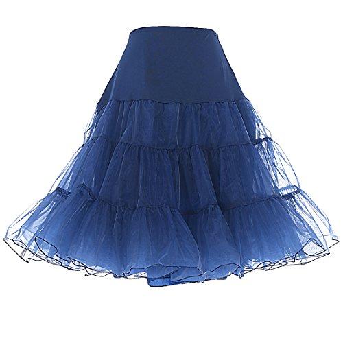 (Dresstells® Women's Vintage Rockabilly Net Petticoat Skirt Tutu Navy Small/Medium)