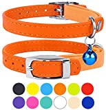CollarDirect Leather Cat Collar, Cat Safety Collar with Elastic Strap, Kitten Collar for Cat with Bell Black Blue Red Orange Lime Green (Neck Fit 6'-7', Orange)